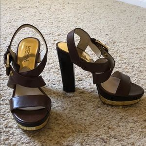 Michael Kors brown heeled sandals